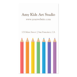 Modern Rainbow Colouring Pencils Art Supplies Double-Sided Standard Business Cards (Pack Of 100)