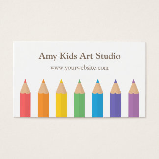 Modern Rainbow Colouring Pencils Art Supplies Business Card