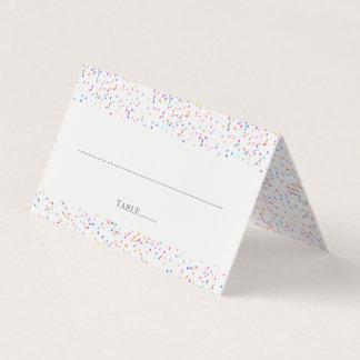 Modern Rainbow Confetti Wedding Place Card