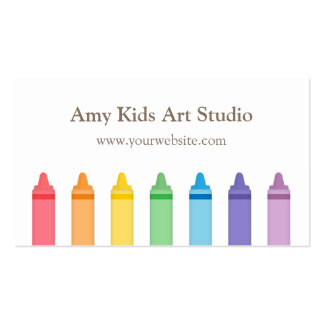 Modern Rainbow Crayons Art Supplies Studio Double-Sided Standard Business Cards (Pack Of 100)