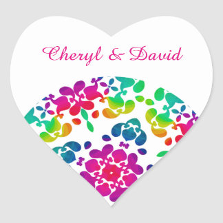 Modern Rainbow Floral Patterned Pretty Design Heart Sticker