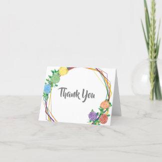 Modern Rainbow Geometric Floral Wedding Thank You