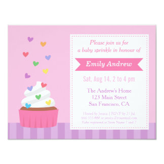 Modern Rainbow Hearts Cupcake Baby Sprinkle Shower 4.25x5.5 Paper Invitation Card