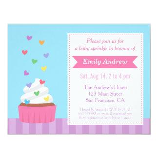 Modern Rainbow Hearts Cupcake Baby Sprinkle Shower Card