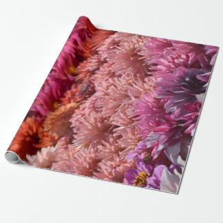 Modern Rainbow Pink Orange Purple Dahlia Flower Wrapping Paper