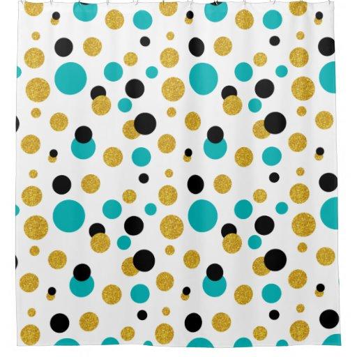 Modern Random Circles Black Blue Amp Gold Glitter Shower