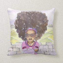Modern Rapunzel Afro accent pillow 20x20, close up