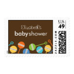 Modern Rattles Baby Shower Postage Postage Stamps