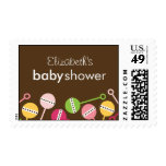 Modern Rattles Baby Shower Postage Stamps