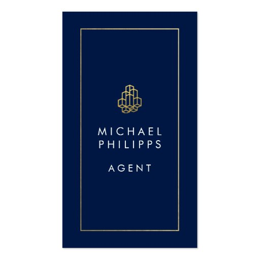 Modern real estate businesscards navy blue business card for Modern real estate business cards