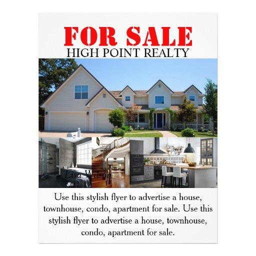 Modern real estate realtor for sale flyer zazzle for Contemporary real estate for sale