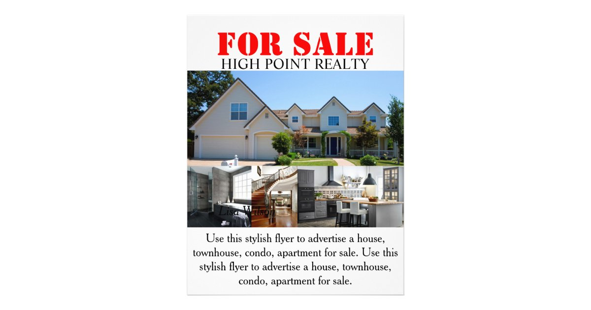 Modern real estate realtor for sale flyer for Contemporary real estate for sale