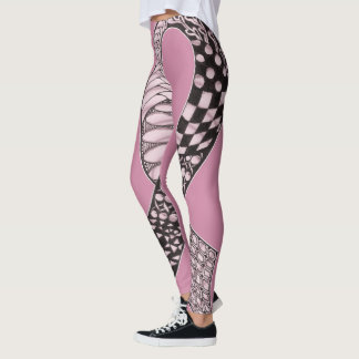 Modern Rebel Breast Cancer Awareness Ribbon Leggings