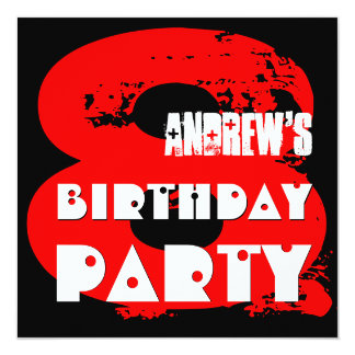 Modern RED 8th Birthday Party 8 Year Old V11 Card