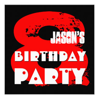 Modern RED 8th Birthday Party 8 Year Old V11A Custom Invitation
