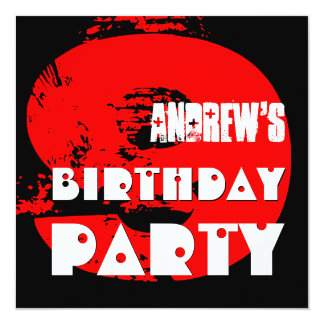 Modern RED 9th Birthday Party 9 Year Old V11 Card