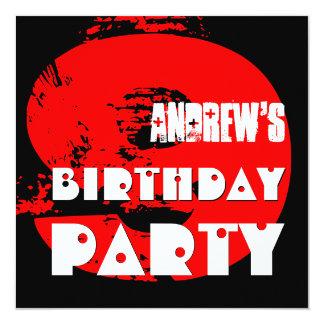 Modern RED 9th Birthday Party 9 Year Old V11 Invitation