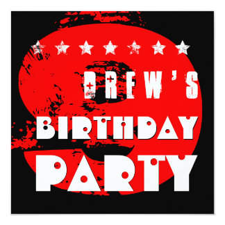 """Modern RED 9th Birthday Party 9 Year Old V11A 5.25"""" Square Invitation Card"""