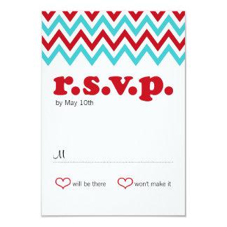 Modern Red and Aqua Chevron & Lovebirds RSVP Card