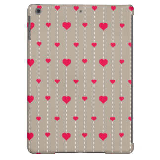 Modern Red and Beige Hearts Pattern iPad Air Cover