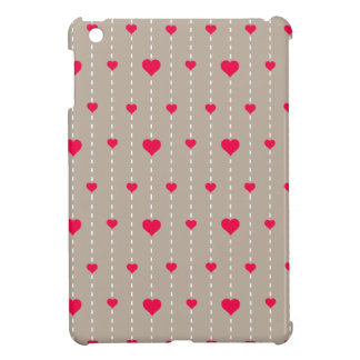 Modern Red and Beige Hearts Pattern iPad Mini Case