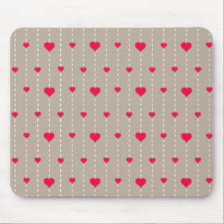 Modern Red and Beige Hearts Pattern Mouse Pad