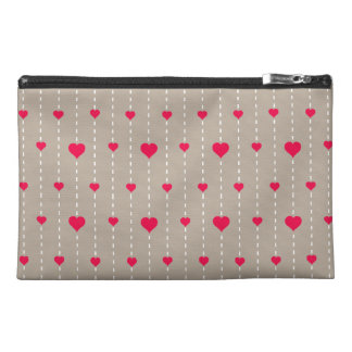 Modern Red and Beige Hearts Pattern Travel Accessories Bags