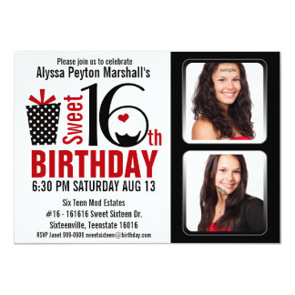 Modern Red and Black 2 Photos Sweet 16 Party Card