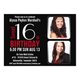Modern Red and Black 2 Photos Sweet 16 Party 4.5x6.25 Paper Invitation Card