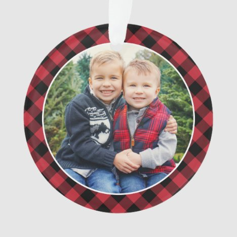 Modern Red and Black Buffalo Plaid Photo Ornament