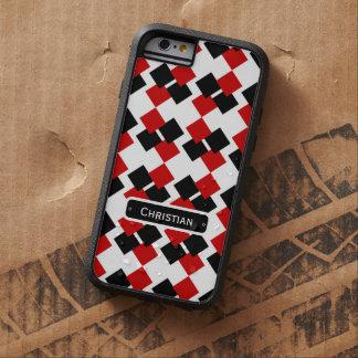 Modern Red and Black Diamond Pattern Tough Xtreme iPhone 6 Case