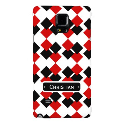 Modern Red and Black Diamond Pattern Galaxy Note 4 Case