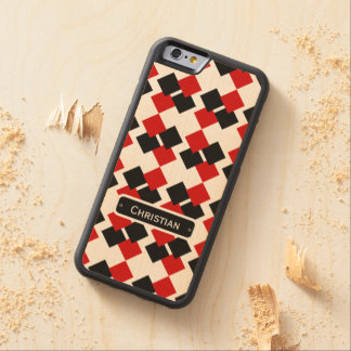 Modern Red and Black Diamond Pattern Carved® Maple iPhone 6 Bumper