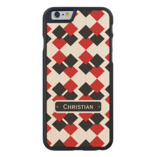 Modern Red and Black Diamond Pattern Carved® Maple iPhone 6 Slim Case