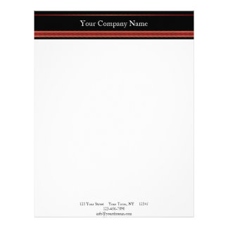 Modern Red and Black Racing Stripe Letterhead