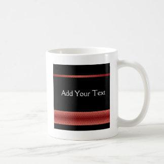 Modern Red and Black Racing Stripe Mugs