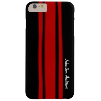 Modern Red And Black Racing Stripes With Name Barely There iPhone 6 Plus Case