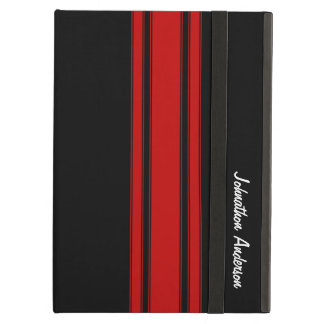 Modern Red And Black Racing Stripes With Name iPad Air Covers