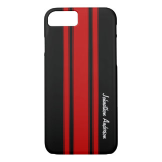 Modern Red And Black Racing Stripes With Name iPhone 7 Case