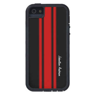 Modern Red And Black Racing Stripes With Name iPhone SE/5/5s Case