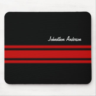Modern Red And Black Racing Stripes With Name Mouse Pad