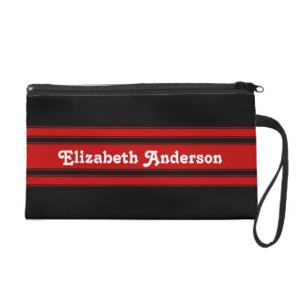 Modern Red and Black Racing Stripes With Name Wristlet