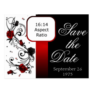 Modern Red and Black Rose Save the Date Postcard