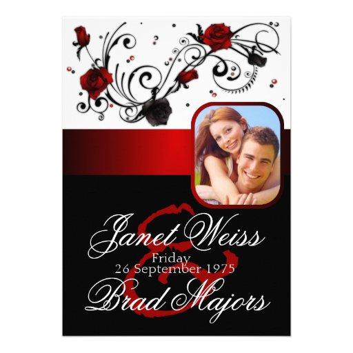 Modern Red And Black Rose Wedding Invitation 5 X 7 Invitation Card