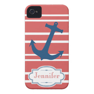 Modern Red and Blue Nautical Anchor iPhone Case iPhone 4 Case-Mate Case