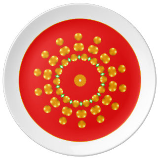 Modern Red and Gold Dots Sparkle Green Diamonds Porcelain Plate