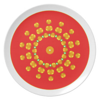 Modern Red and Gold Dots Sparkle Green Diamonds Party Plate