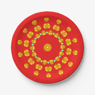 Modern Red and Gold Dots Sparkle Green Diamonds 7 Inch Paper Plate