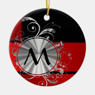 Modern red and silver monogram ceramic ornament