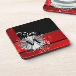 Modern red and silver monogram coaster